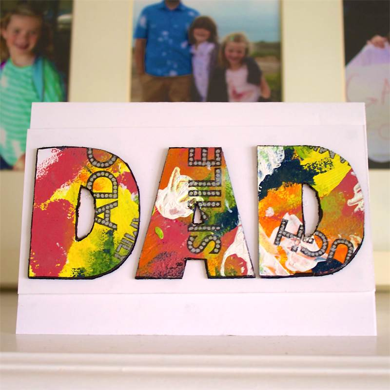 3d Mixed Media card for dad
